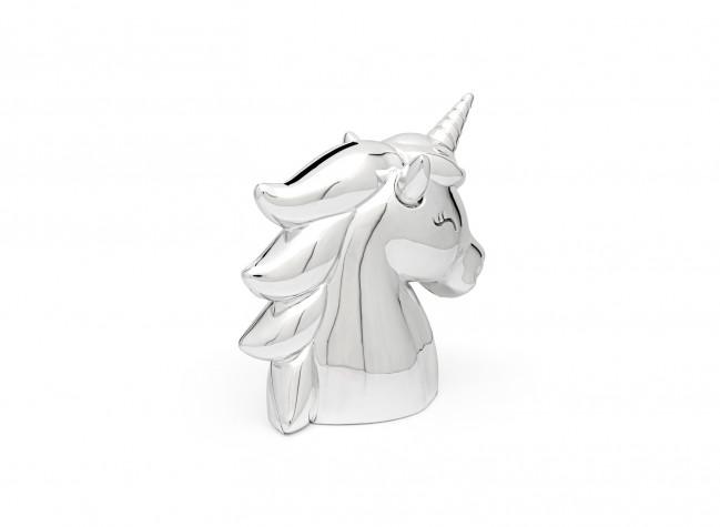 Spaarpot Unicorn nieuw zilver kleur