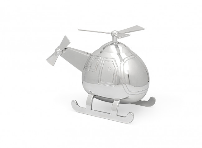 Spaarpot Helikopter zilver kleur
