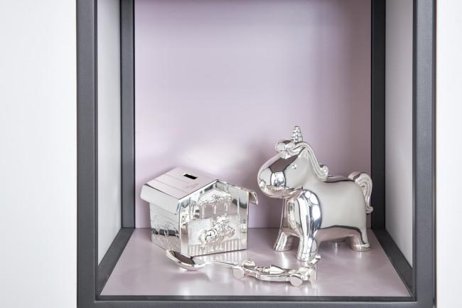 Spaarpot Eenhoorn zilver kleur