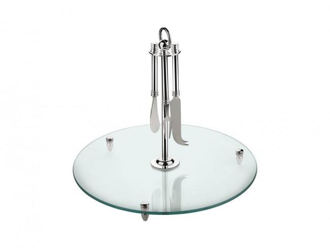 Serveerschaal glas met mesjes vz