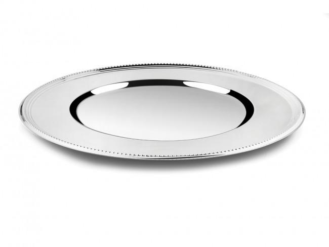 Onderbord Parel 33cm zilver kleur