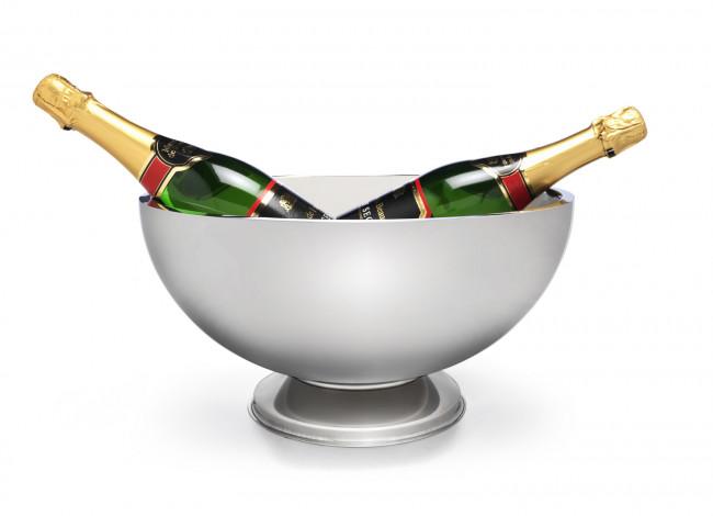 Champagneschaal dubbelwandig op voet rvs