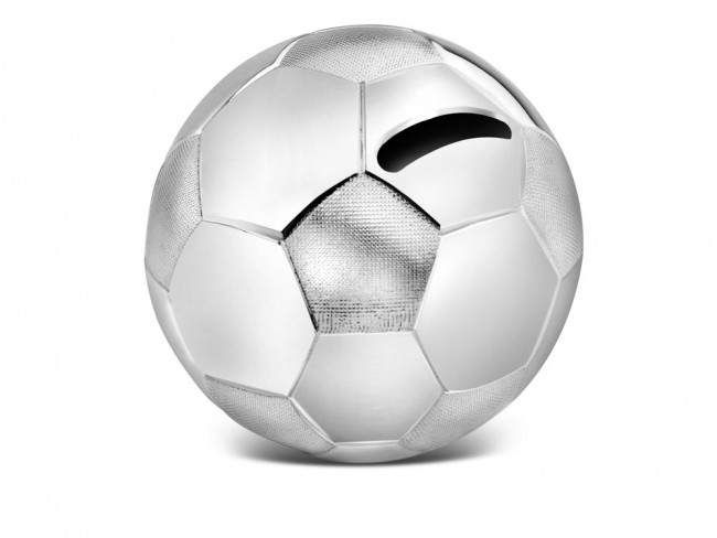 Spaarpot Voetbal 8,5x8,5x8cm zilver kleur