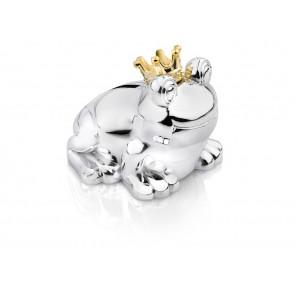 Spaarpot Kikker 10x9x9cm zilver kleur