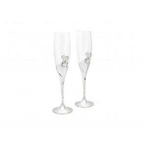 Champagneglazen Hart verzilverd gelakt, set van 2