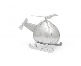 Spaarpot Helikopter, zilver kleur