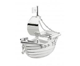 Spaarpot Piratenboot, verzilverd gelakt