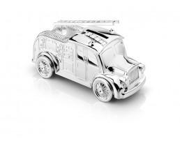 Spaarpot Brandweerwagen, verzilverd gelakt