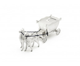 Spaarpot Koets met paarden, verzilverd gelakt
