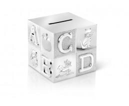 Spaarpot Kubus, groot, ABC, zilver kleur